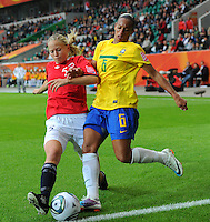 Rosana (r) of team Brazil and Marita Skammelsrud Lund of team Norway during the FIFA Women's World Cup at the FIFA Stadium in Wolfsburg, Germany on July 3rd, 2011.