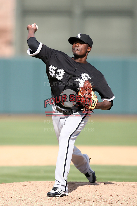 Freddy Dolsi. Chicago White Sox spring training game vs. Oakland Athletics at Phoenix Municipal Stadium, Phoenix, AZ - 03/10/2010.Photo by:  Bill Mitchell/Four Seam Images.