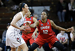 SIOUX FALLS, SD: MARCH 21:  Bria Gaines #12 of Union guards Jolene Shipps #23 of Central Missouri during their game at the 2018 Division II Women's Basketball Championship at the Sanford Pentagon in Sioux Falls, S.D. (Photo by Dick Carlson/Inertia)
