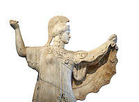 Roman statue of goddes Athena from the tablinum of the Villa of the Papyri in Herculaneum, Museum of Archaeology, Italy, white background