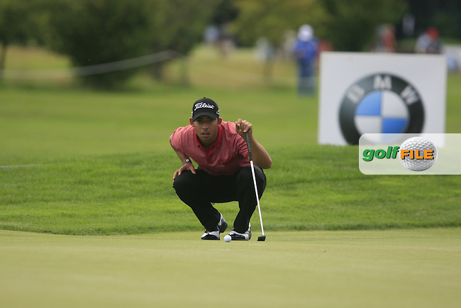 George Coetzee (RSA) lines up his putt on the 15th green during the Final Day of the BMW International Open at Golf Club Munchen Eichenried, Germany, 26th June 2011 (Photo Eoin Clarke/www.golffile.ie)