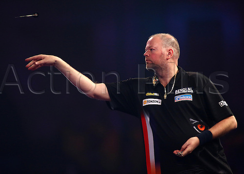 01.01.2017. Alexandra Palace, London, England. William Hill PDC World Darts Championship. Raymond van Barneveld throws, during his Semi Final match with Michael van Gerwen