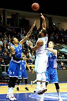 GRONINGEN - Basketbal, Donar - Landstede Zwolle, Martiniplaza, Dutch Basketbal league, seizoen 2018-2019, 02-02-2019, Donar speler Lance Jeter met Landstede speler Sherron Dorsey-Walker