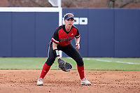 GREENSBORO, NC - MARCH 11: Katie Keller #6 of Northern Illinois University waits at first base during a game between Northern Illinois and UNC Greensboro at UNCG Softball Stadium on March 11, 2020 in Greensboro, North Carolina.