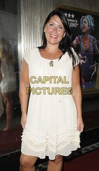 """ZOE TYLER .At the """"Legally Blonde - The Musical"""" special performance, Savoy Theatre, London, England, UK, June 28th, 2010..half length white dress cream ruffle open necklace .CAP/CAN.©Can Nguyen/Capital Pictures."""