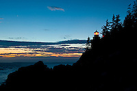 Twilight image of the Bass Harbor Light, Mount Desert Island Maine.
