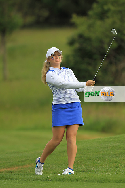 Bronte Law on the 3rd during the Friday morning Foursomes of the 2016 Curtis Cup at Dun Laoghaire Golf Club on Friday 10th June 2016.<br /> Picture:  Golffile   Thos Caffrey