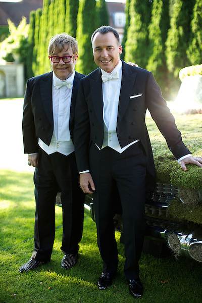 Elton John and David Furnish candid portrait at The White Tie and Tiara Ball
