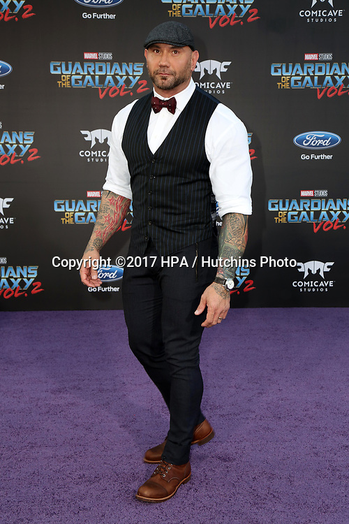 "LOS ANGELES - APR 19:  Dave Bautista at the ""Guardians of the Galaxy Vol. 2"" Los Angeles Premiere at the Dolby Theater on April 19, 2017 in Los Angeles, CA"
