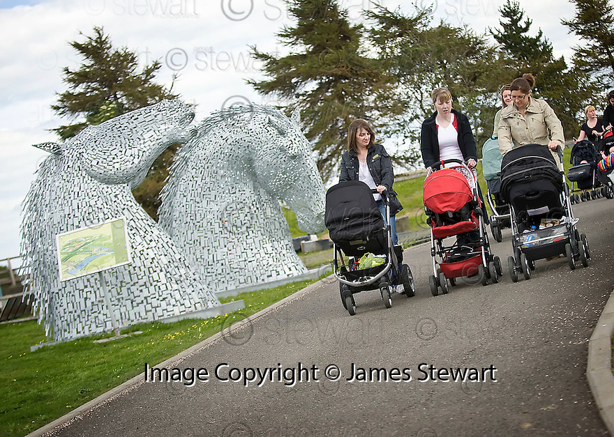 MOTHERS FROM ALL OVER THE FALKIRK AREA TAKE PART IN THE HELIX BUGGY WALK, PART OF  THE BIG FIT WALK,  THROUGH THE HELIX CENTRAL PARK AREA TO LOCK 2 ON THE FORTH & CLYDE CANAL