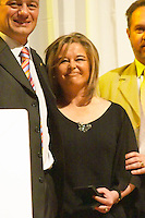 Laura Casella oenologist of Bodega Hector Nelson Stagnari winery, collecting the Uruguay Cata d'Or prize medal Catad'Or of Uruguay, Montevideo, Uruguay, South America