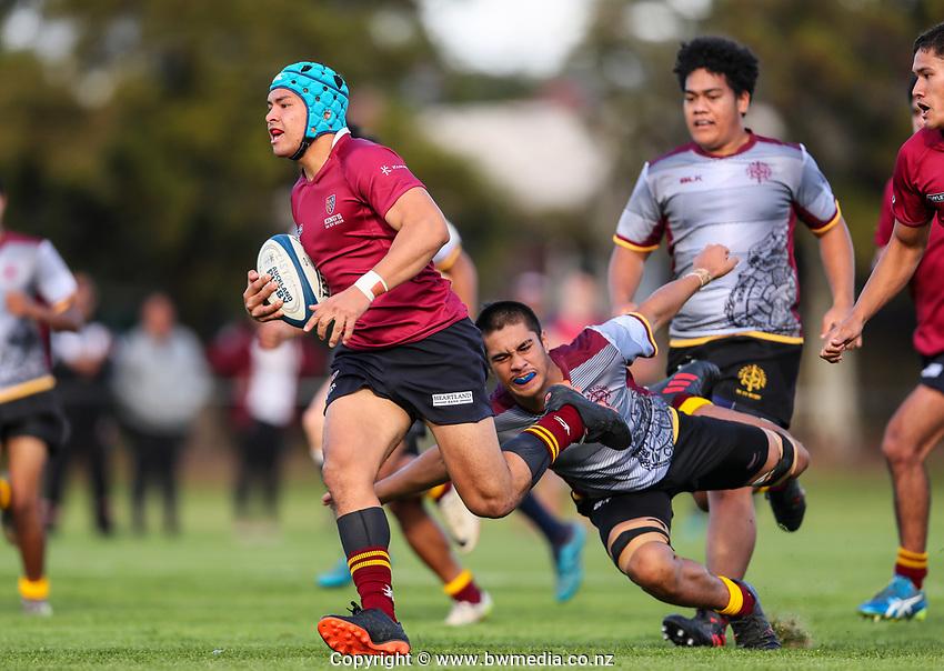 Kings College 1st XV v Liston College, Liston College, Auckland, Saturday 4 May 2019. Photo: Simon Watts/www.bwmedia.co.nz