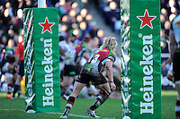 Matt Hopper of Harlequins defends his tryline during the Heineken Cup Round 5 match between Harlequins and ASM Clermont Auvergne at the Twickenham Stoop on Saturday 11th January 2014 (Photo by Rob Munro)