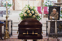 The coffin containing the remains of Paul Gerin-Lajoie is shown during his funeral at Mary Queen of the World Cathedral in Montreal, Thursday, August 9, 2018.THE CANADIAN PRESS/Graham Hughes