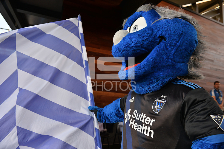 San Jose, CA - Wednesday June 13, 2018: San Jose Earthquakes mascot Q prior to a Major League Soccer (MLS) match between the San Jose Earthquakes and the New England Revolution at Avaya Stadium.
