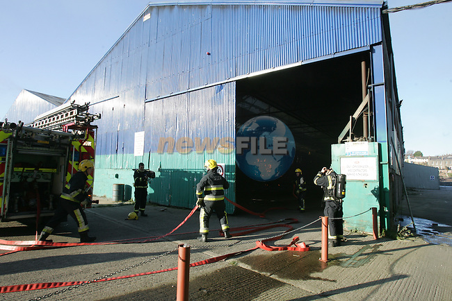Drogheda Fire service responded to a fire in the former McMahons Timber yard on the Marsh Road on Sunday afternoon, Two units of the fire service were detained at the scene..Photo: Fran Caffrey/www.newsfile.ie...