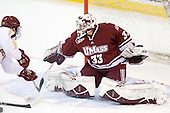Paul Carey (BC - 22), Kevin Boyle (UMass - 33) - The Boston College Eagles defeated the University of Massachusetts-Amherst Minutemen 3-2 to take their Hockey East Quarterfinal matchup in two games on Saturday, March 10, 2012, at Kelley Rink in Conte Forum in Chestnut Hill, Massachusetts.