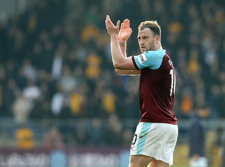 Burnley's Ashley Barnes applauds the fans at the final whistle<br /> <br /> Photographer Rich Linley/CameraSport<br /> <br /> The Premier League - Burnley v Wolverhampton Wanderers - Saturday 30th March 2019 - Turf Moor - Burnley<br /> <br /> World Copyright © 2019 CameraSport. All rights reserved. 43 Linden Ave. Countesthorpe. Leicester. England. LE8 5PG - Tel: +44 (0) 116 277 4147 - admin@camerasport.com - www.camerasport.com