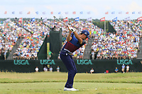 Rickie Fowler (USA) tees off the par3 9th tee during Saturday's Round 3 of the 117th U.S. Open Championship 2017 held at Erin Hills, Erin, Wisconsin, USA. 17th June 2017.<br /> Picture: Eoin Clarke | Golffile<br /> <br /> <br /> All photos usage must carry mandatory copyright credit (&copy; Golffile | Eoin Clarke)