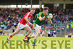 Mark Ryan Kerry in action against Sean Ryan Cork in the Munster Minor Football Final in Fitzgerald Stadium, Killarney on Sunday last.