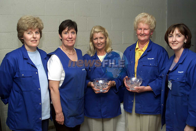Ann Shortt, Sylvia Collier, Kitty Maguire, Ita O'Brien and Majella Burke who recieved 10 year service awards from Brother..Picture Paul Mohan Newsfiloe