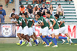 16 May 2015: New York's starters warm up. The Carolina RailHawks hosted the New York Cosmos at WakeMed Stadium in Cary, North Carolina in a North American Soccer League 2015 Spring Season match. The game ended in a 2-2 tie.