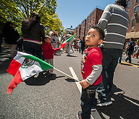 Marchers in the Cinco de Mayo Parade in New York on Sunday, May 5, 2013. The holiday commemorates a victory of Mexican forces led by General Ignacio Zaragoza Seguín over French forces in the Battle of Puebla on May 5, 1862. In the United States Mexican-Americans celebrate with parades and festivals as a show of ethnic pride.  (© Richard B. Levine)