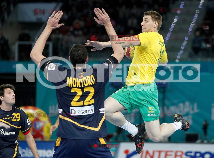 Spain's Angel Montoro Cabello (l) and Australia's Nemanja Subotic during 23rd Men's Handball World Championship preliminary round match.January 15,2013. (ALTERPHOTOS/Acero) /NortePhoto
