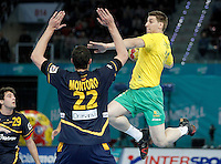 Spain's Angel Montoro Cabello (l) and Australia's Nemanja Subotic during 23rd Men's Handball World Championship preliminary round match.January 15,2013. (ALTERPHOTOS/Acero) /NortePhoto