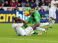 Joshua King of Bournemouth on the ground after hit by mistake by Bournemouth goalkeeper Adam Federici during the Barclays Premier League match between Swansea City and Bournemouth at the Liberty Stadium, Swansea on November 21 2015