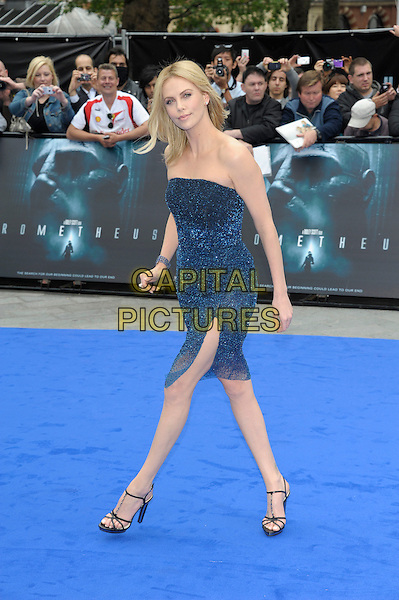 Charlize Theron.'Prometheus' world film premiere, Empire cinema, Leicester Square, London, England..31st May 2012.full length blue strapless shimmery dress sparkly sheer slit split.CAP/PL.©Phil Loftus/Capital Pictures.