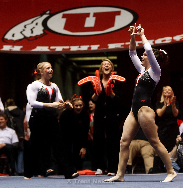 Trent Nelson  |  The Salt Lake Tribune.Utah's Stephanie McAllister celebrates after her floor routine as the University of Utah hosts Georgia at the Huntsman Center, college gymnastics Friday, February 3, 2012 in Salt Lake City, Utah.