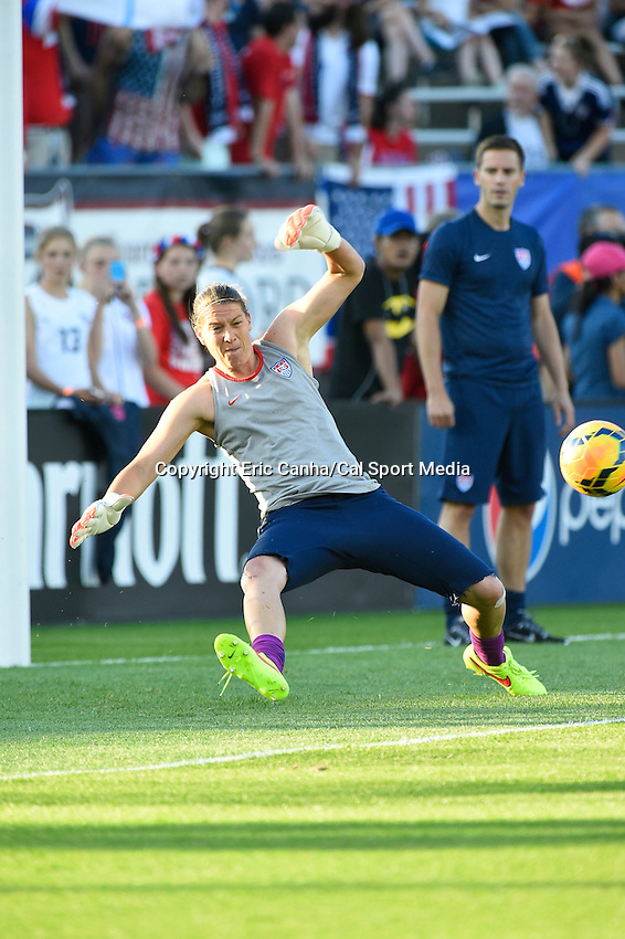 June 19, 2014 - East Hartford, Conn. U.S. -  United State's Nicole Barnhart (18) warms up before the USA Women's Soccer friendly game between USA and France held at Rentschler Field in East Hartford Connecticut. The match ended with a 2-2 tied score. Eric Canha/CSM