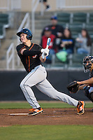 Ryan Mountcastle (4) of the Delmarva Shorebirds follows through on his swing against the Kannapolis Intimidators at Kannapolis Intimidators Stadium on April 12, 2016 in Kannapolis, North Carolina.  The Shorebirds defeated the Intimidators 2-1.  (Brian Westerholt/Four Seam Images)