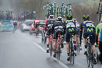 coming back to the peloton through the team cars<br /> <br /> 11th Strade Bianche 2017