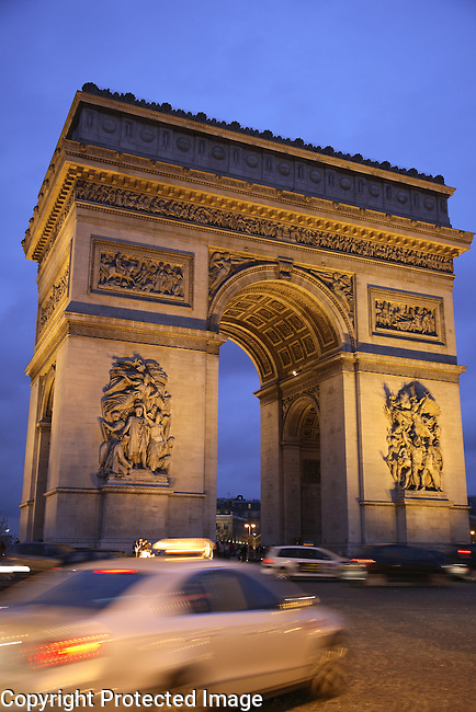 Arc de Triomphe at Dusk with Taxi, Paris, France