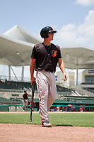 GCL Orioles third baseman Jared Gates (18) walks back to the dugout during a game against the GCL Red Sox on August 9, 2018 at JetBlue Park in Fort Myers, Florida.  GCL Red Sox defeated GCL Orioles 10-4.  (Mike Janes/Four Seam Images)
