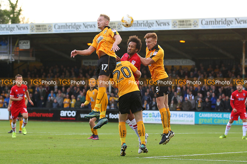 Joshua Gowling of Grimsby Town rises with Adam McGurk of Cambridge United during Cambridge United vs Grimsby Town, Sky Bet EFL League 2 Football at the Abbey Stadium on 15th October 2016