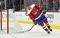 WASHINGTON, DC - APRIL 06: Washington Capitals left wing Alex Ovechkin (8) leans as he skates behind the net during the New York Islanders vs. the Washington Capitals NHL game April 6, 2019 at Capital One Arena in Washington, D.C.. (Photo by Randy Litzinger/Icon Sportswire)