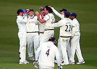 PICTURE BY VAUGHN RIDLEY/SWPIX.COM - Cricket - County Championship Div 2 - Yorkshire v Kent, Day 1 - Headingley, Leeds, England - 05/04/12 - Yorkshire's Ryan Sidebottom celebrates the wicket of Kent's Scott Newman with teammates.