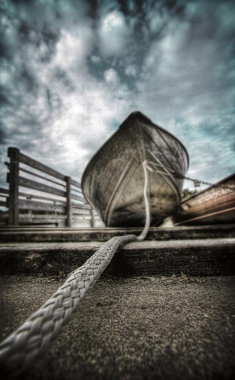 Teathered row boat