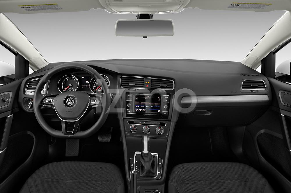 Stock photo of straight dashboard view of a 2019 Volkswagen Golf SportWagen S 5 Door Wagon