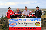 """Pat Lynch and Padraic Smyth from the Dreadnots receiving the """"New"""" kit from Paul Boyd and Barry Faulkner from the Clogherhead Fishermen's Co-op during the Clogherhead Fishermen's Co-op Ltd sponsorship with the Dreadnots GFC on Tuesday 19th August 2014.<br /> Picture:  Thos Caffrey / www.newsfile.ie"""