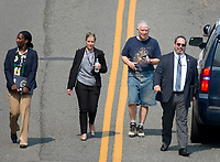 United States Representative Mo Brooks (Republican of Alabama), in dirty blue shirt, as he walks to his car after a gunman opened fire on members of Congress who were practicing for the annual Congressional baseball game in Alexandria, Virginia on Wednesday, June 14, 2017. Photo Credit: Ron Sachs/CNP/AdMedia