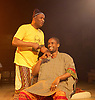 Barbershop Chronicles <br /> A co-production with Fuel &amp; West Yorkshire Playhouse<br /> by Inua Ellams<br /> at the Dorfman Theatre, National Theatre, London, Great Britain <br /> Press photocall <br /> 6th June 2017 <br /> <br /> <br /> <br /> <br /> Peter Bankole as Kwabena <br /> <br /> Patrice Najambana <br /> <br /> <br /> <br /> <br /> <br /> Photograph by Elliott Franks <br /> Image licensed to Elliott Franks Photography Services