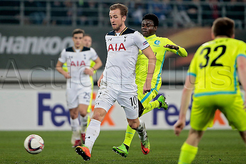 February  16th 2017, Ghent, Belgium;  Harry Kane forward of Tottenham breaks away from Simon Moses forward of KAA Gent during the UEFA Europa League Round of 32  First Leg between  KAA Gent and Tottenham Hotspur