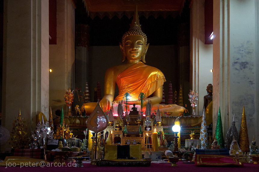 inside a typical  temple in Vietiane, Laos, 2012