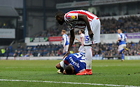 Stoke City's Bruno Martins Indi checking on Ipswich Town's Collin Quaner <br /> <br /> Photographer Hannah Fountain/CameraSport<br /> <br /> The EFL Sky Bet Championship - Ipswich Town v Stoke City - Saturday 16th February 2019 - Portman Road - Ipswich<br /> <br /> World Copyright © 2019 CameraSport. All rights reserved. 43 Linden Ave. Countesthorpe. Leicester. England. LE8 5PG - Tel: +44 (0) 116 277 4147 - admin@camerasport.com - www.camerasport.com