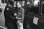 "Police arrest a Punk Rocker in the Kings Road, Chelsea, London UK in 1977. SUS Law, allowed the police to Stop and Search any ""SUSpecious person"" or ""SUSpected person"" any where any time. <br />
