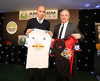 Pictured: Jonjo Shelvey with sponsor Wednesday 20 May 2015<br /> Re: Swansea City FC Awards Dinner at the Liberty Stadium, south Wales, UK